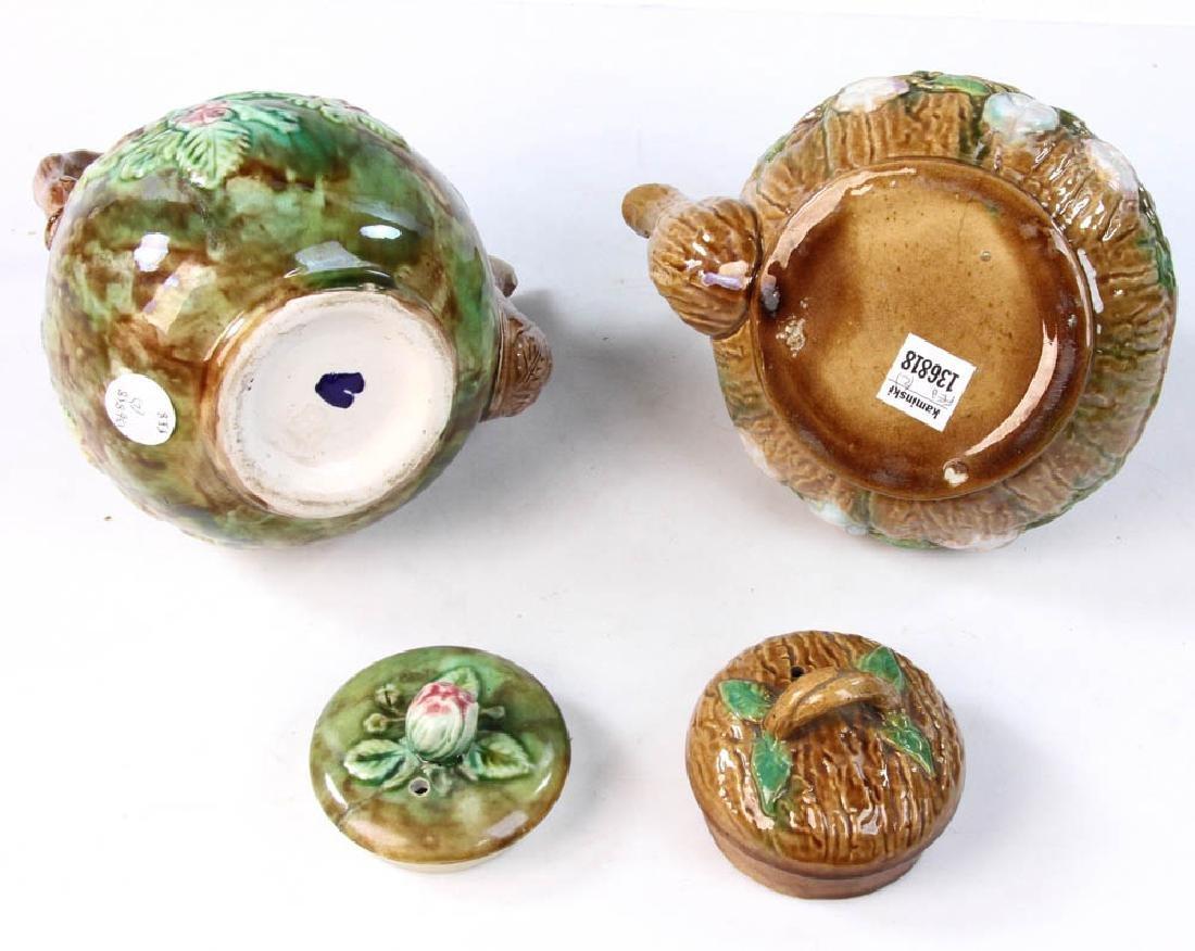 Pair of Majolica Teapots - 7