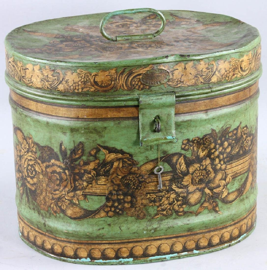 Tole-decorated Tin Hat Box