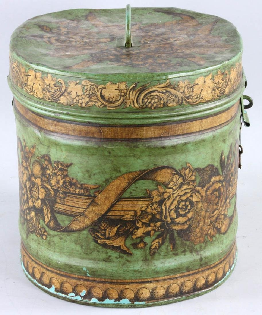 Tole-decorated Tin Hat Box - 2