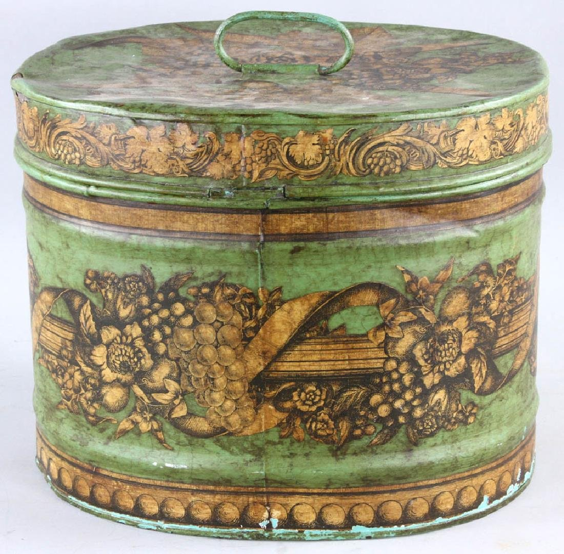 Tole-decorated Tin Hat Box - 3