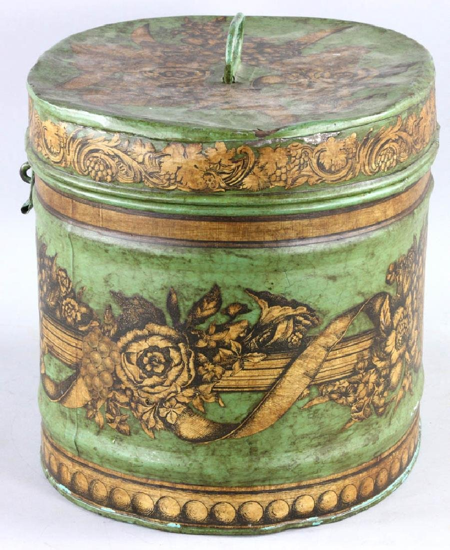 Tole-decorated Tin Hat Box - 7