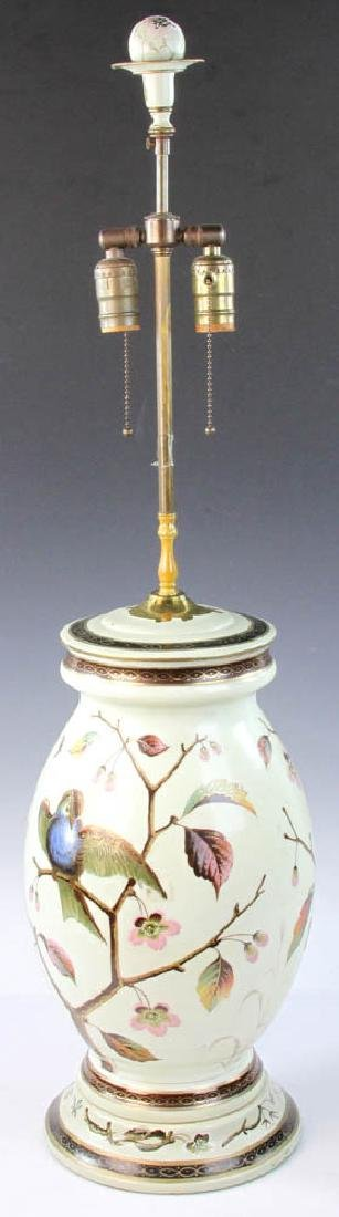 Early 20th C. English Handpainted Glass Lamp