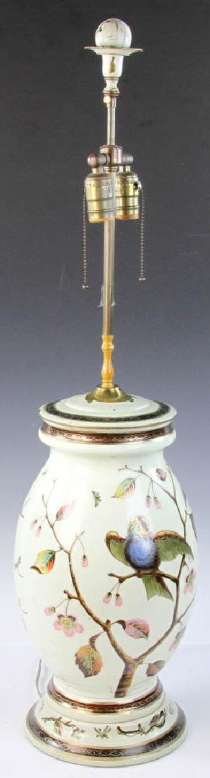 Early 20th C. English Handpainted Glass Lamp - 2