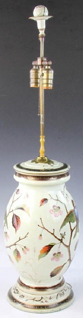Early 20th C. English Handpainted Glass Lamp - 3