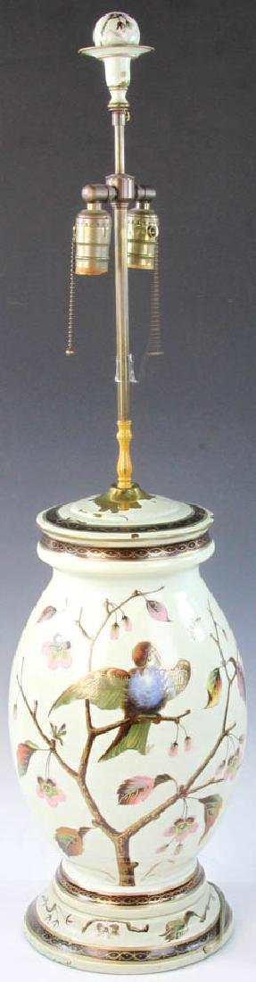 Early 20th C. English Handpainted Glass Lamp - 4