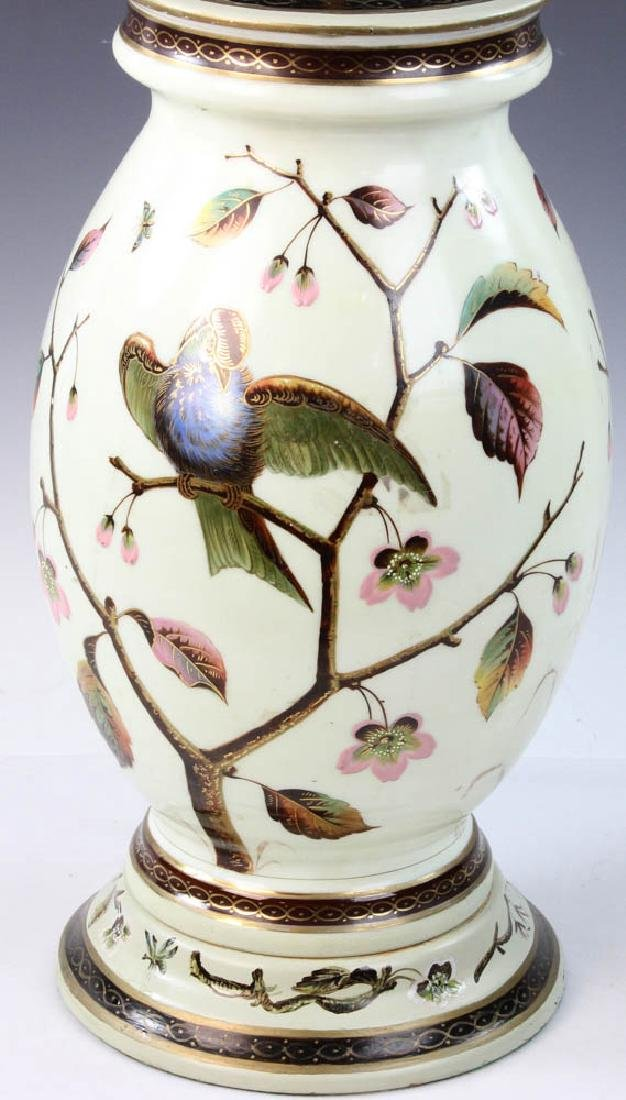 Early 20th C. English Handpainted Glass Lamp - 5