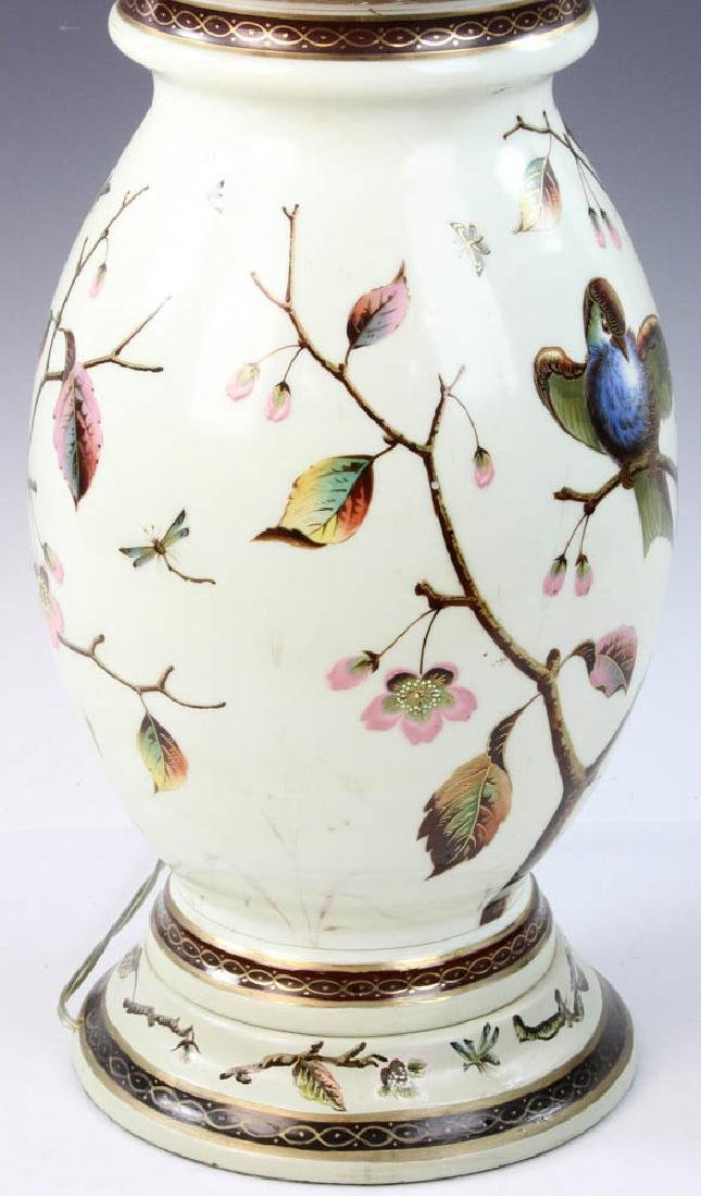 Early 20th C. English Handpainted Glass Lamp - 6