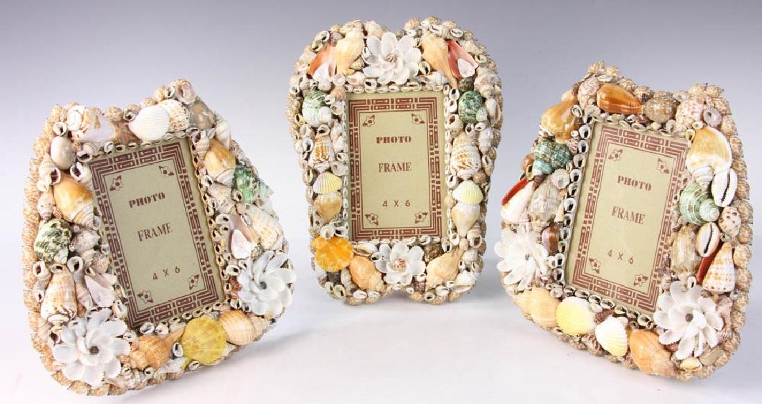 Three Designer Shell Art Frames