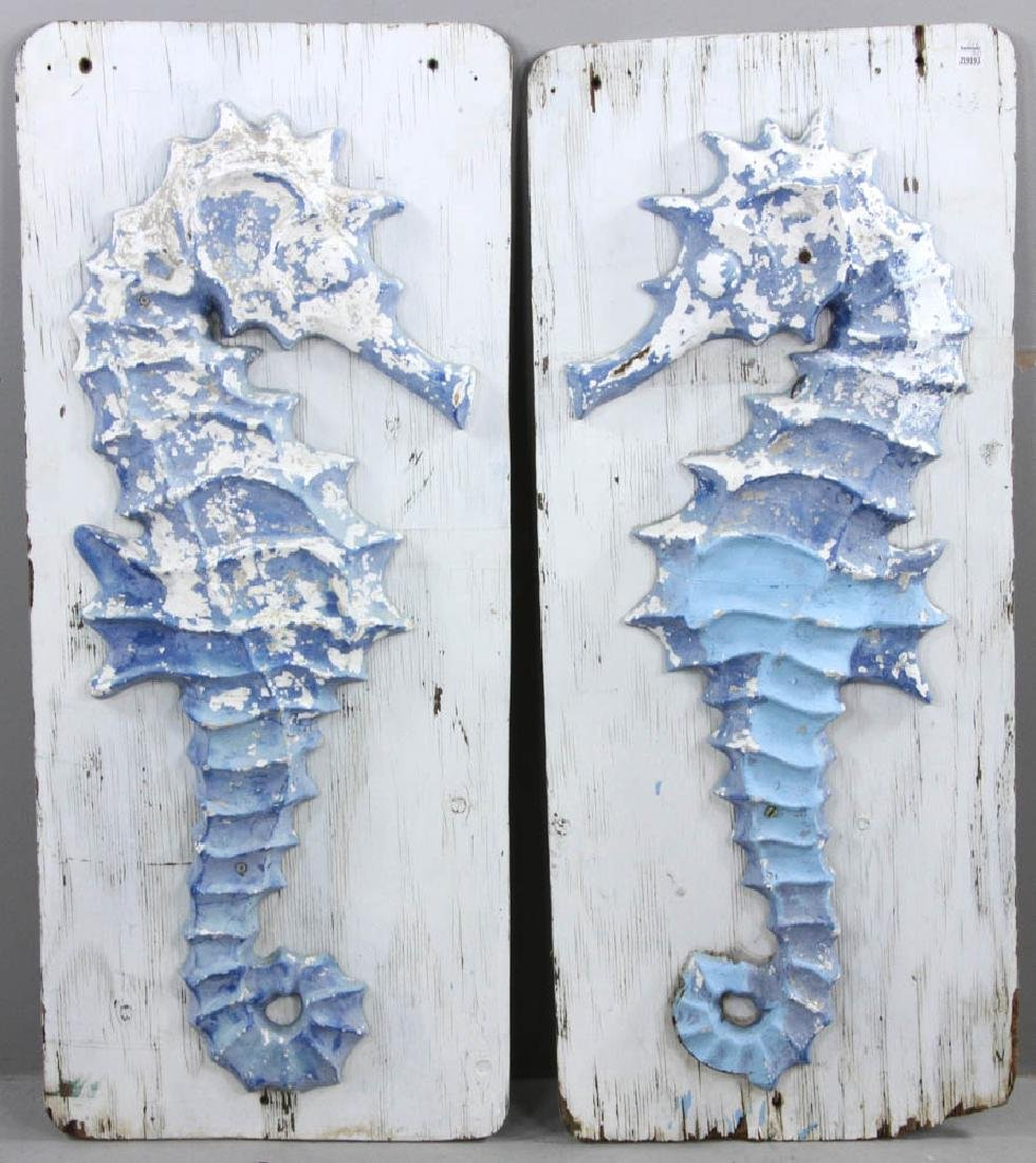 Pair of Cast Iron Seahorse Sculptures