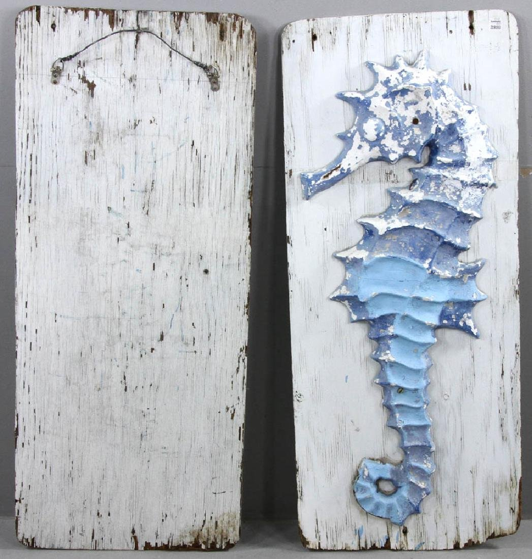 Pair of Cast Iron Seahorse Sculptures - 7