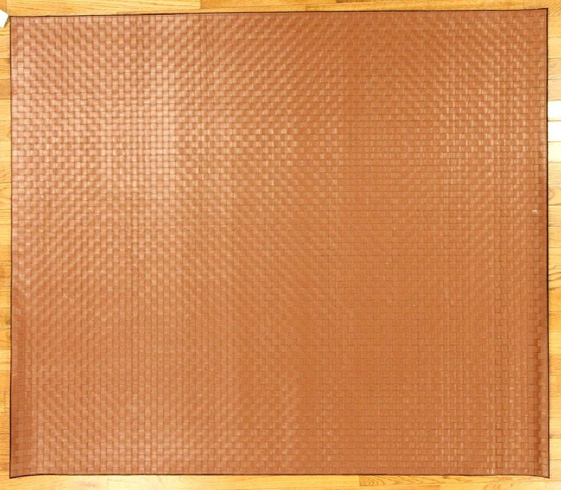 Designer Leather Woven Rug