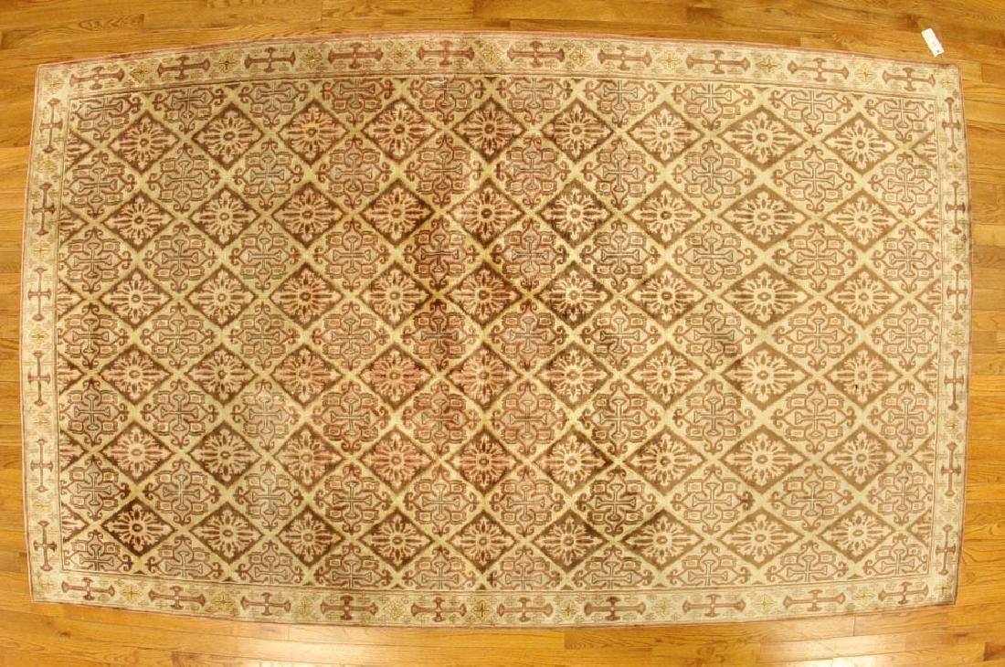Fine Sino Silk Cotton Geometric Rug