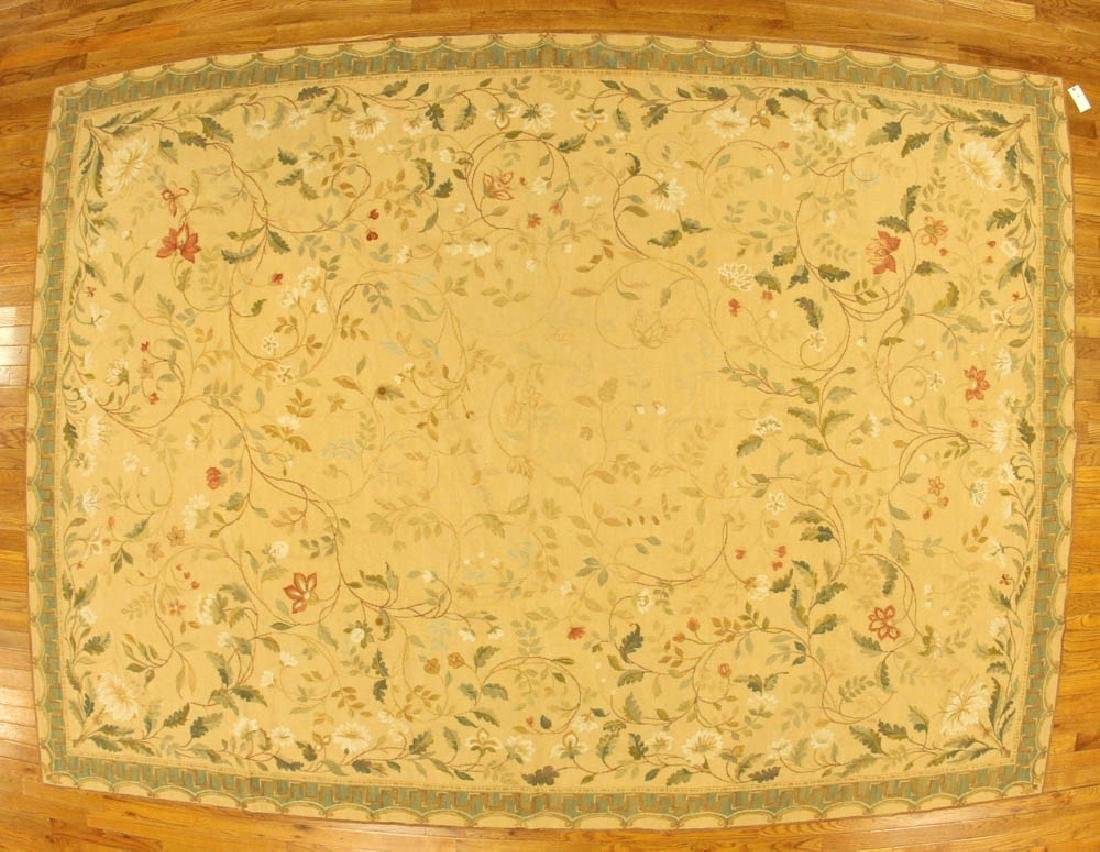 French Needlepoint Floral Rug