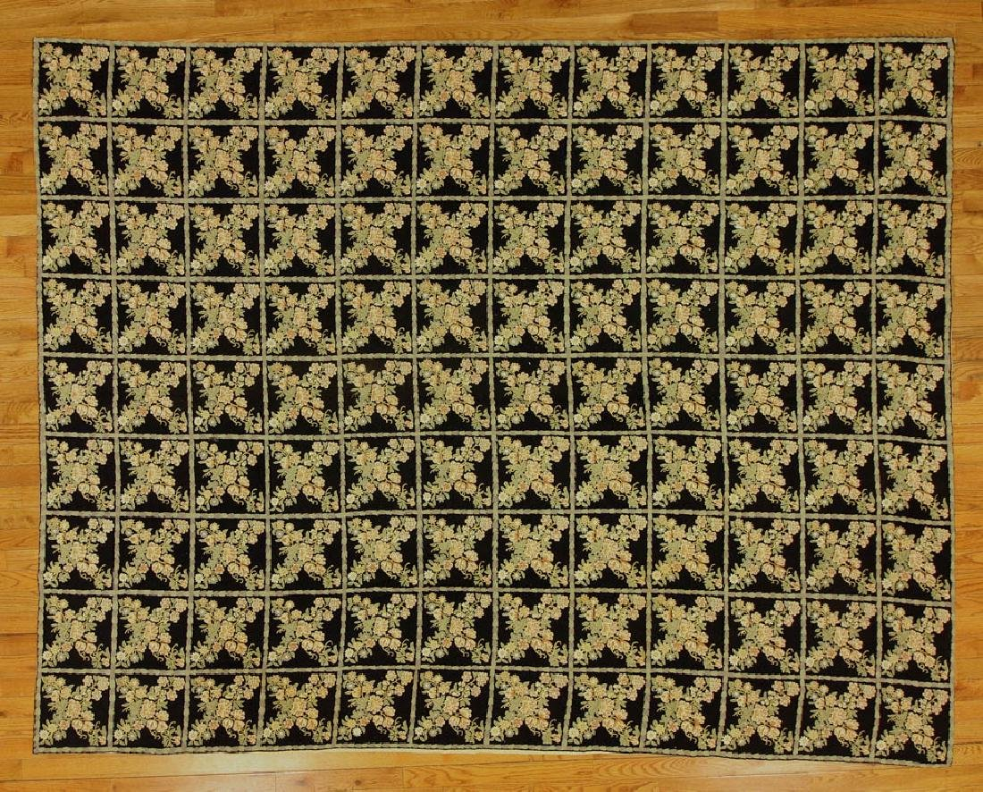 Crewel Work Rug with Floral Box Design
