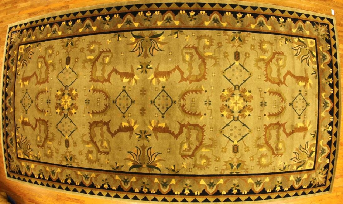 Unusual Indo Rug with Tribal Designs