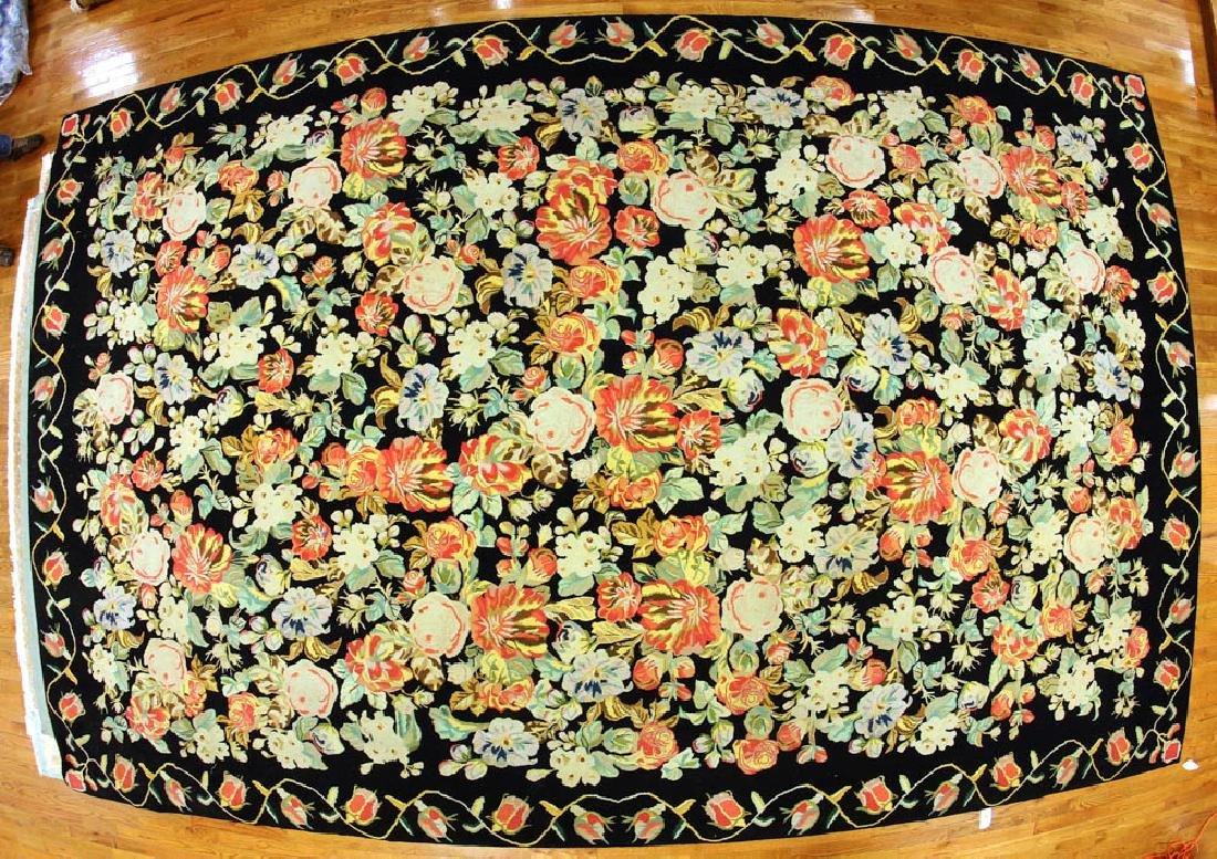 Semi-antique Floral Hooked Rug