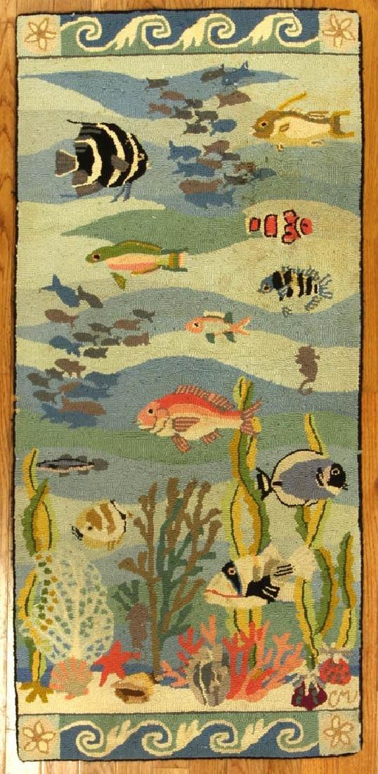 Folk Art Hooked Rug with Fish Design