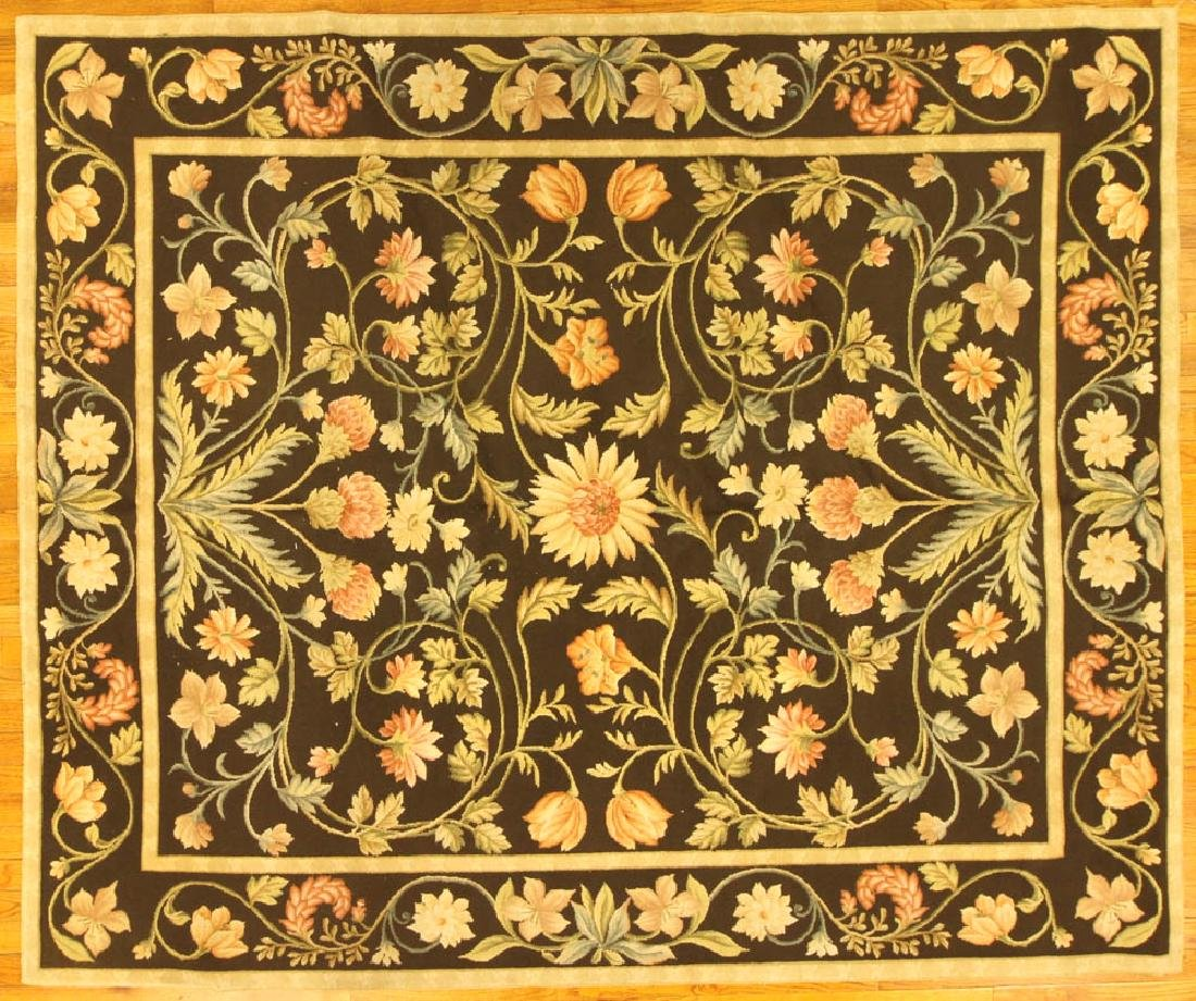 Fine French Needlepoint Floral Rug