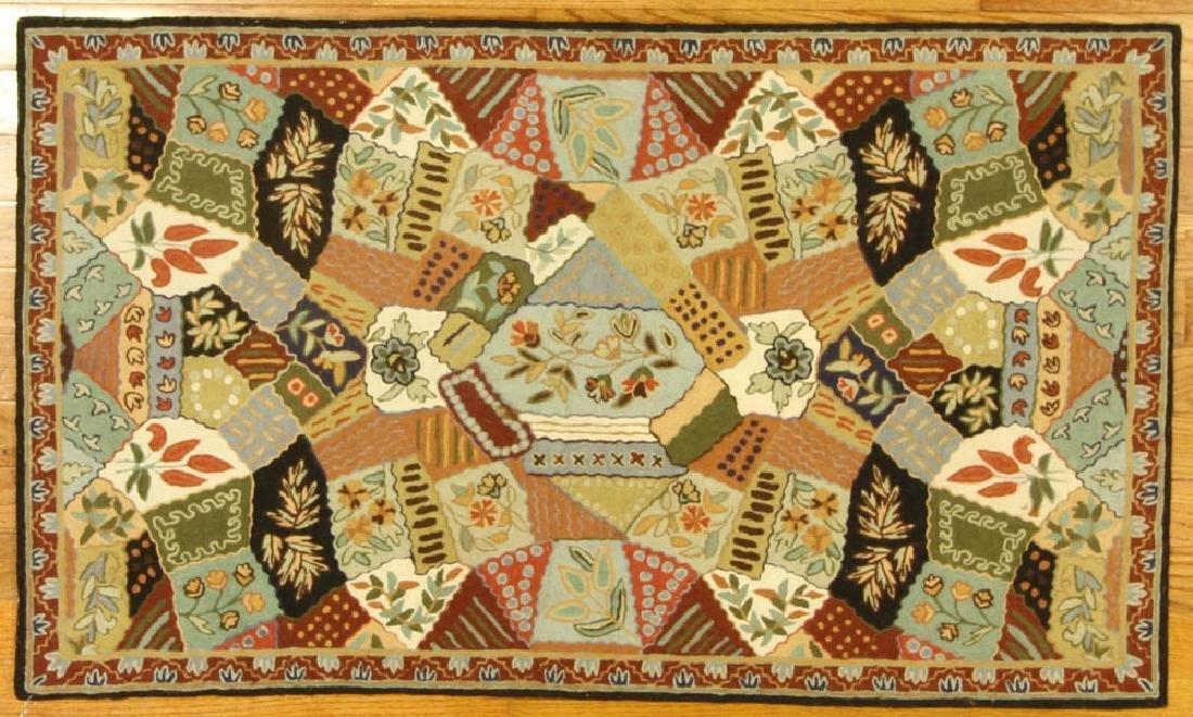 Unusual Crewel Patchwork Handmade Rug