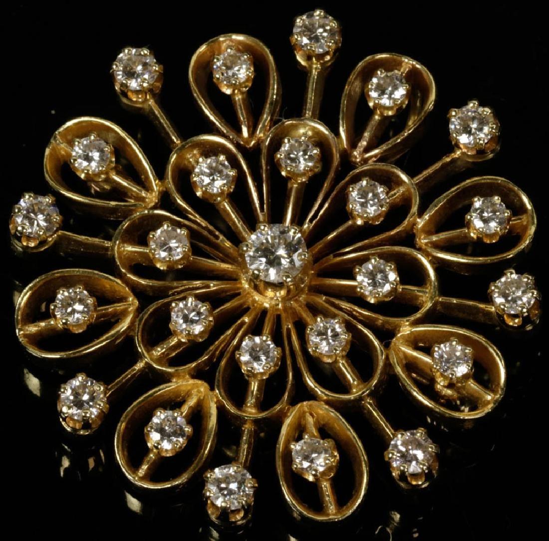14k Gold Diamond Brooch