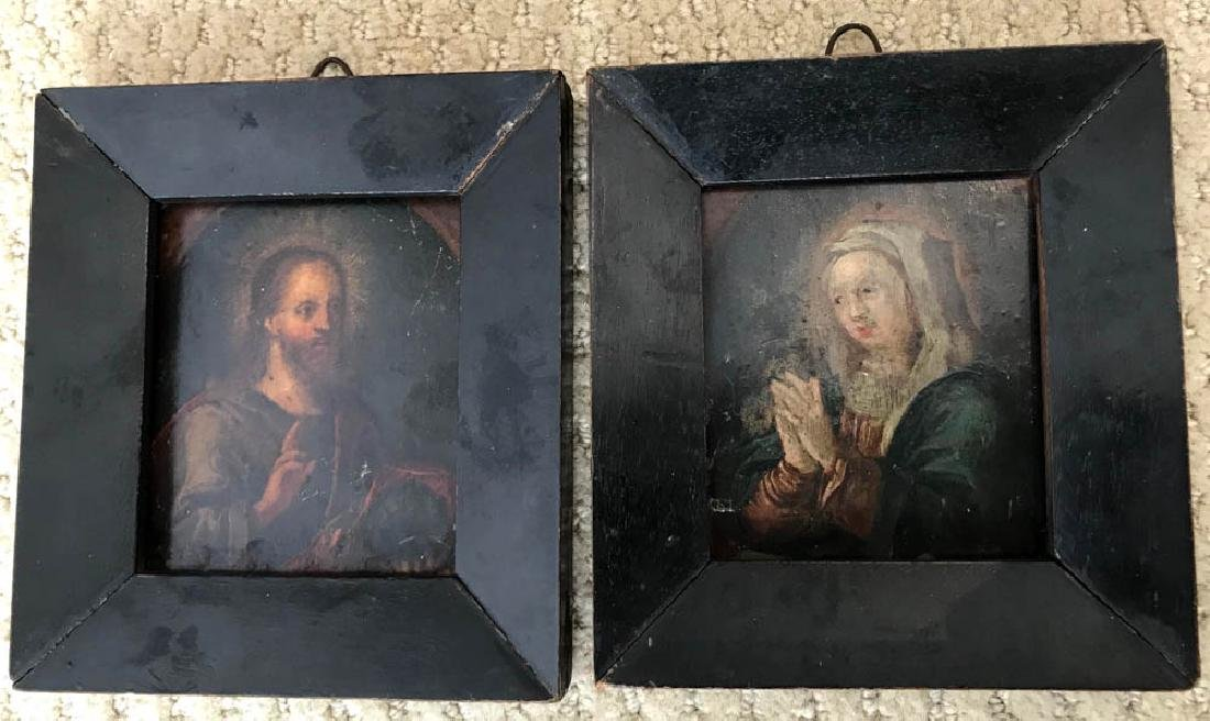 17th C. Flemish Pair of Portraits on Copper