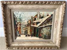 Signed Maurice Utrillo V Paris Snow Scene