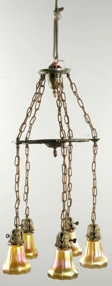 Steuben Signed Bronze Hanging Chandelier