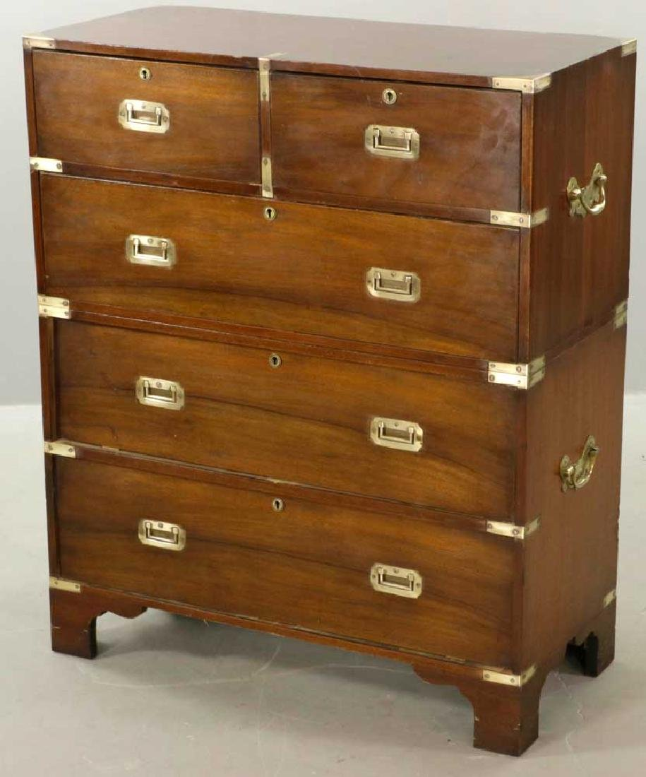 19th C. Brass-Bound Mahogany Campaign Chest