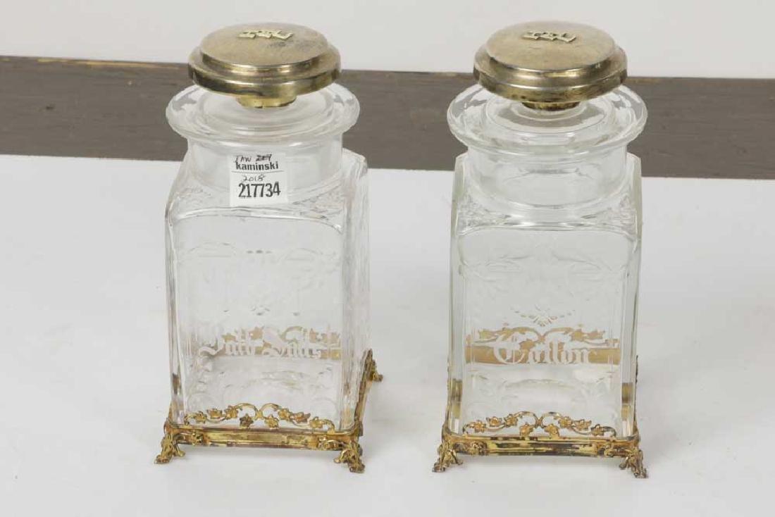 Pair of 19th C. Hawkes Crystal & Sterling Jars