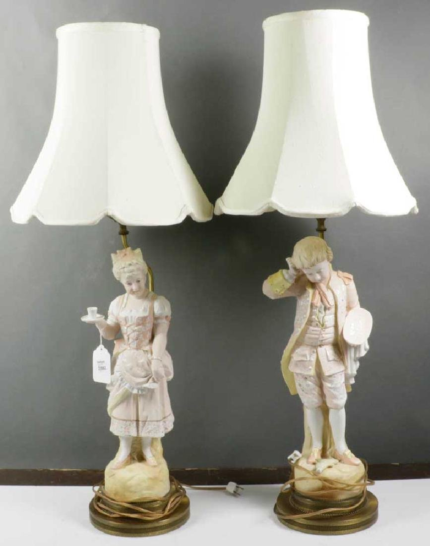 Pair of 19/20th C. European Bisque Lamps