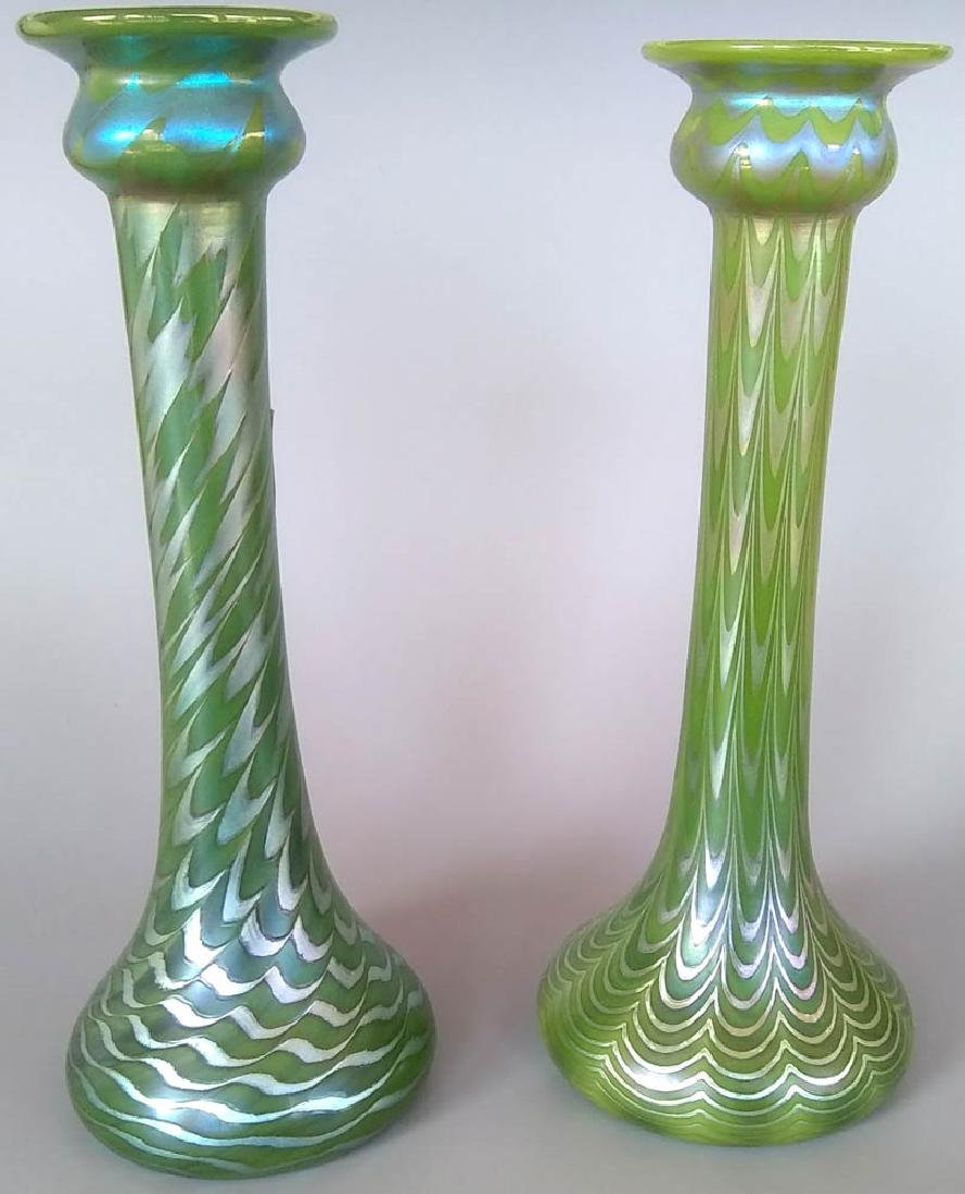 Two Lundberg Studios Iridescent Glass Vases