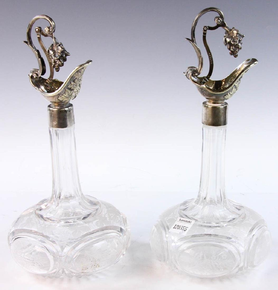 19th C. English Cut Glass Cruets - 2