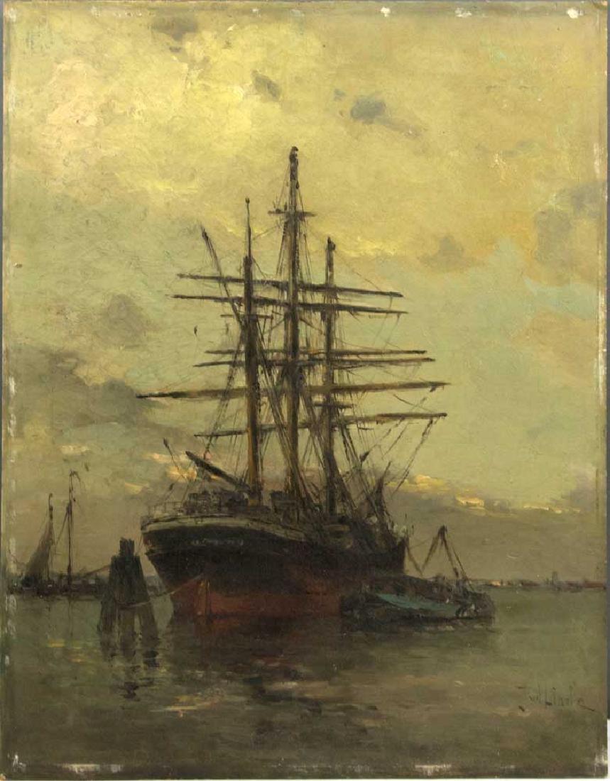 Jan van der Linde, Moored Ships, o/c/b