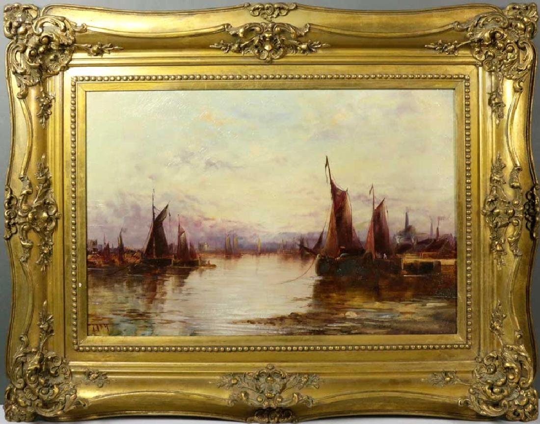 Dutch Sailboats in Harbor, Oil on Canvas