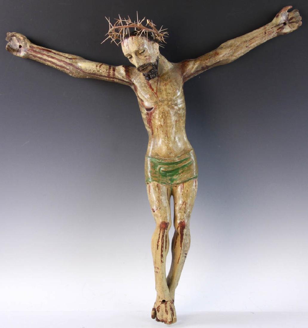 18th/19th C. Spanish Painted Wood Christos