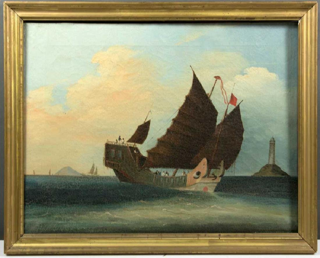 Chinese Export, Sailing Craft, Oil on Canvas