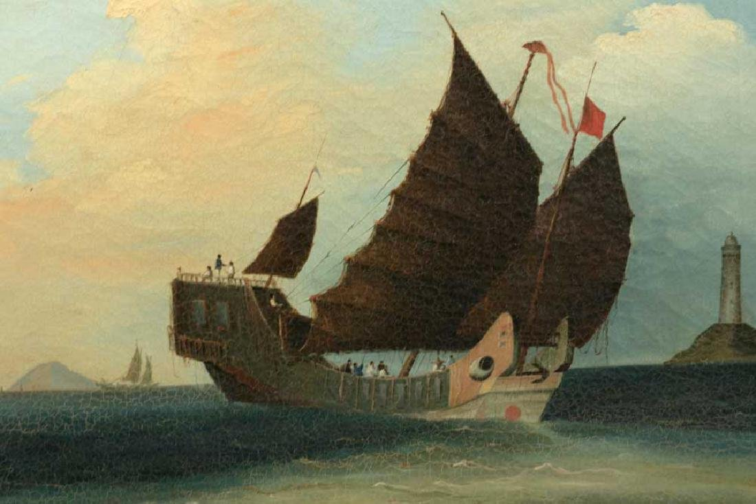 Chinese Export, Sailing Craft, Oil on Canvas - 2