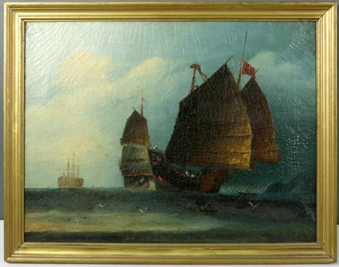 Chinese Export, Ships at Sea, Oil on Canvas