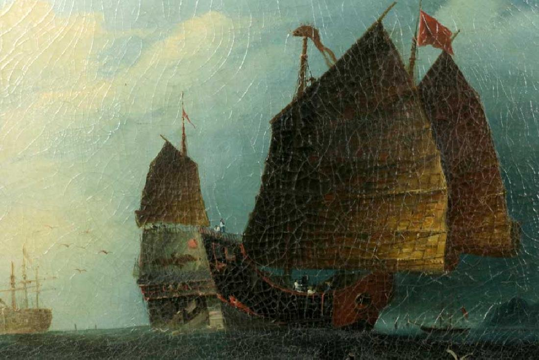 Chinese Export, Ships at Sea, Oil on Canvas - 2