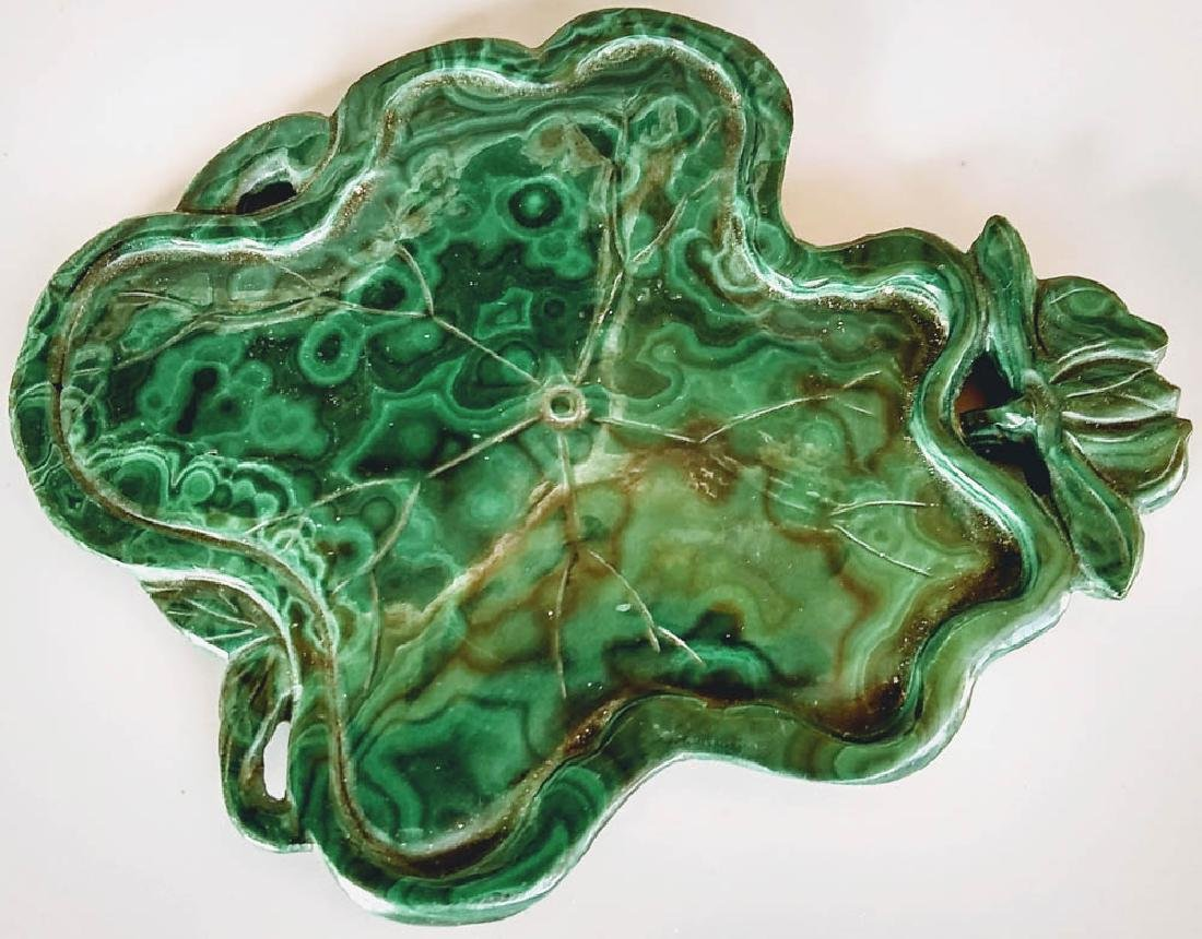 Antique Chinese Malachite Ink Tray