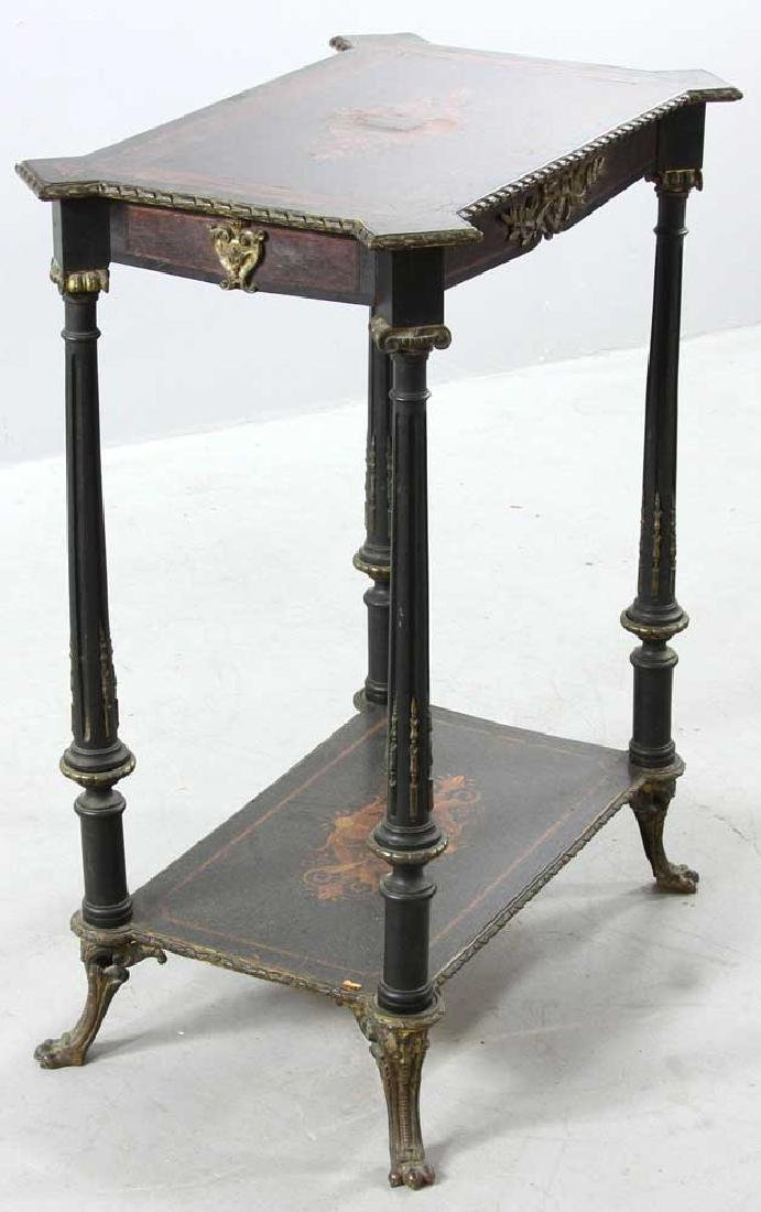 19th C. French Table with Marquetry Inlay - 2