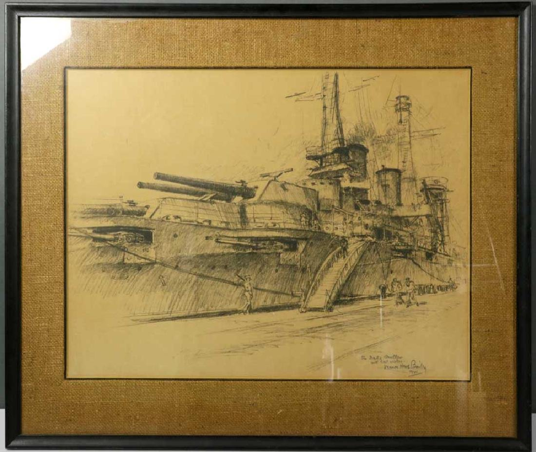 Vernon Bailey Print, WWI Battle Ship