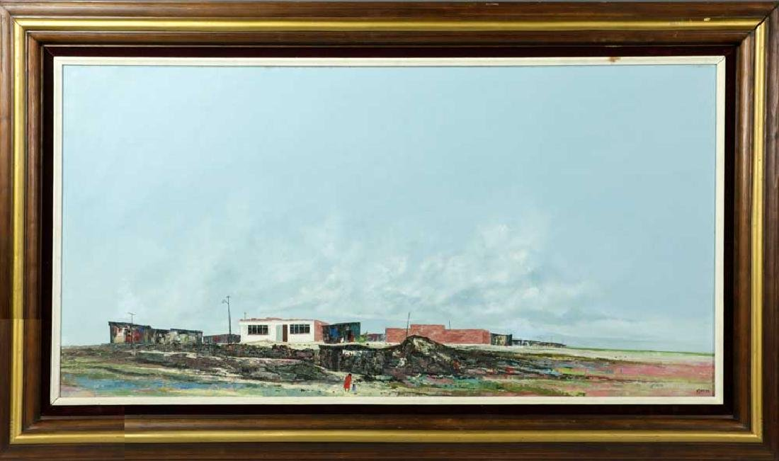 Gomez Signed Modernist Landscape, Oil on Canvas