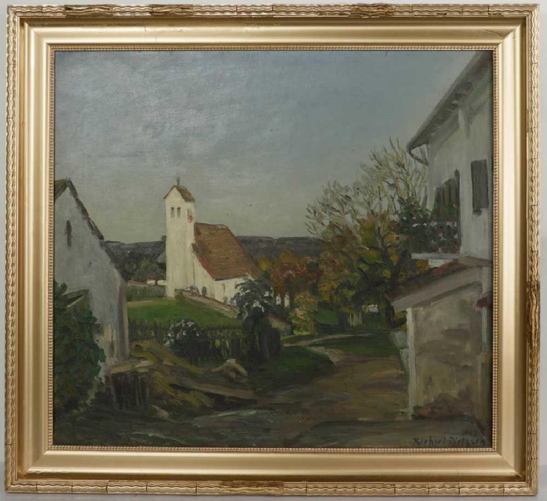 Richard Pietzsch, Village Scene, Oil on Canvas