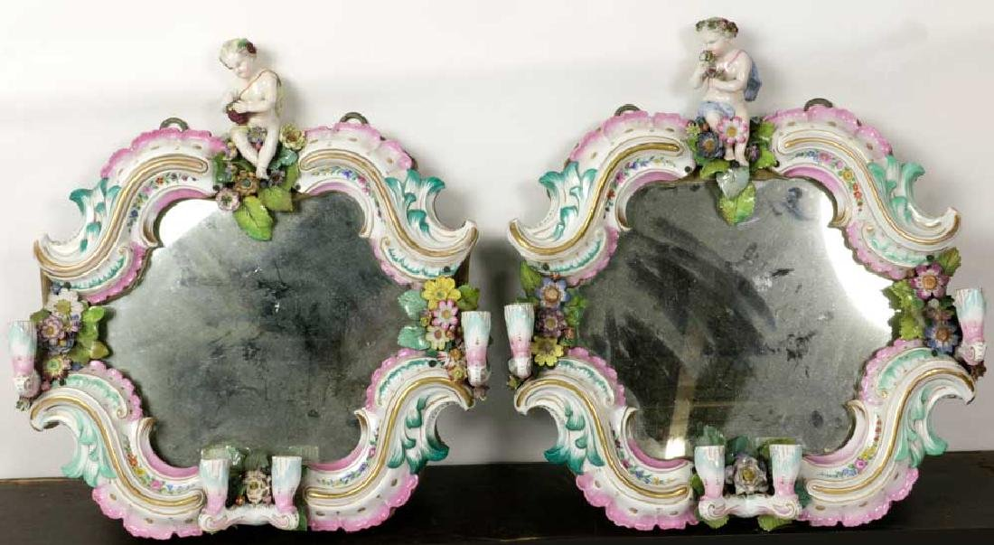 Pair of Early 19th C. German Porcelain Mirrors