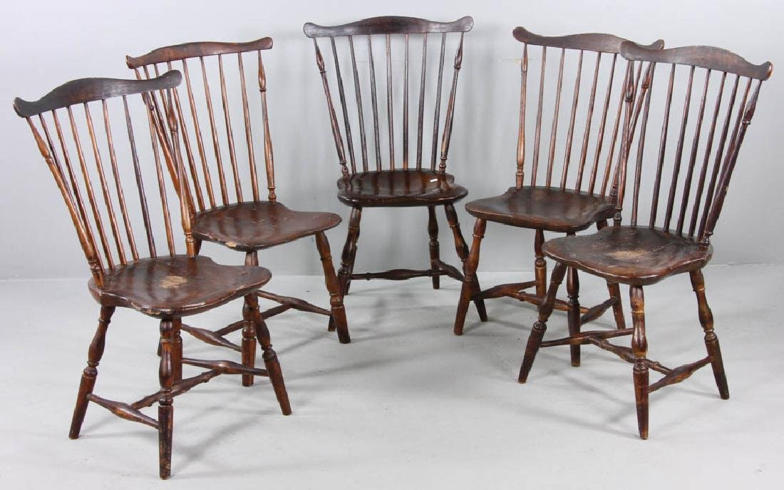 (5) Early 19th C. Windsor 9-Spindle Chairs