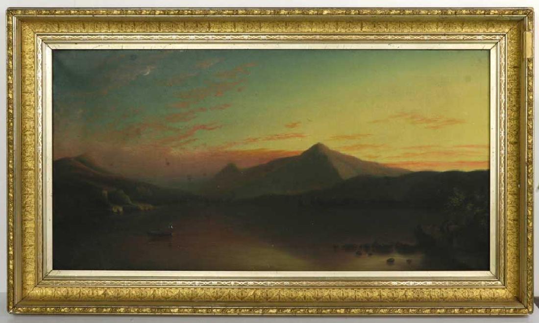 19th C. Luminous Landscape, Fishing, Oil on Canvas