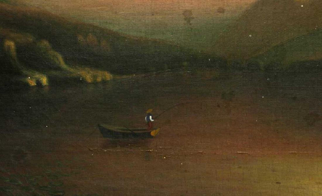 19th C. Luminous Landscape, Fishing, Oil on Canvas - 3