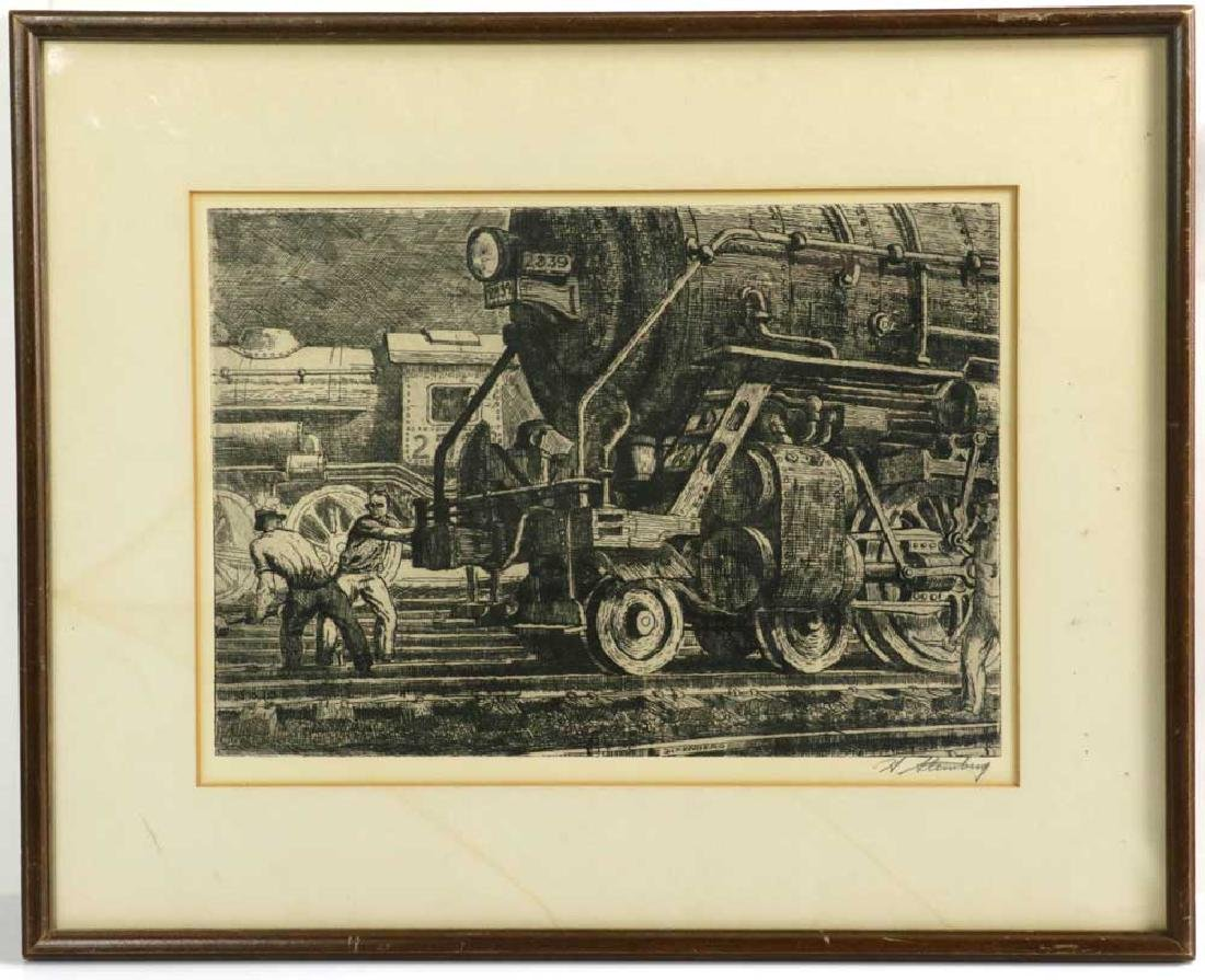 Harry Sternberg Original Etching, Locomotive