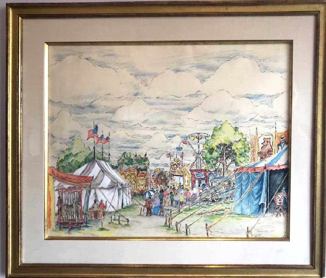 Reynolds Beal, Circus View, Watercolor